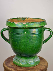 19th Century French garden planter from Castelnaudary with green glaze - 13""