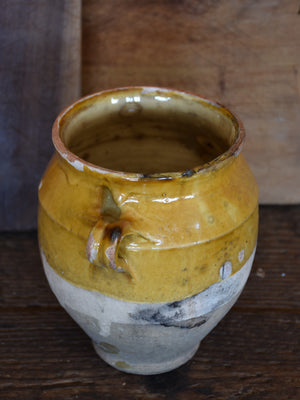Petite 19th century French confit pot with ochre glaze