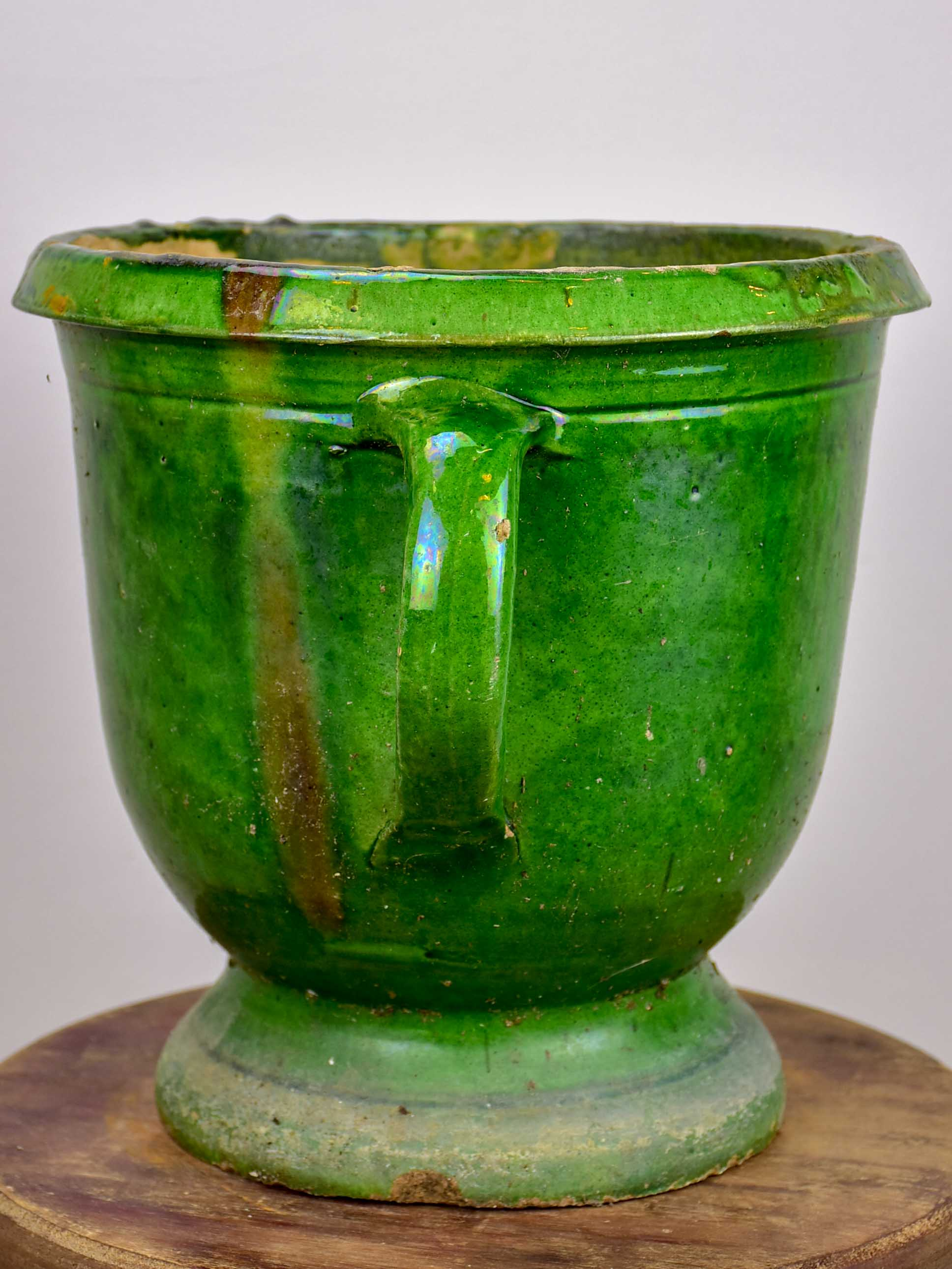 Castelnaudary antique green garden pot - 11""