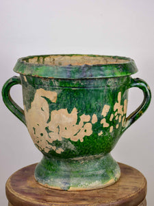 Antique French garden planter with green glaze - 11 ½''