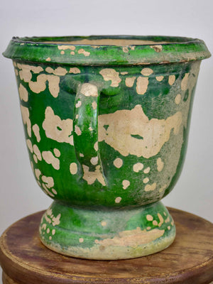 Antique French garden planter with aged green glaze - 11 ½''