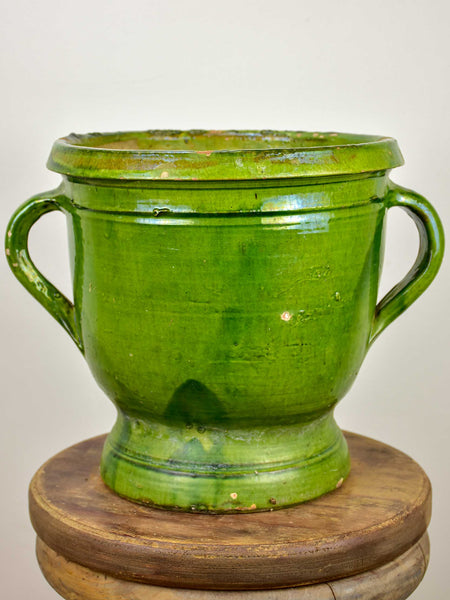 19th Century Castelnaudary garden planter with green glaze - 11 ¼''
