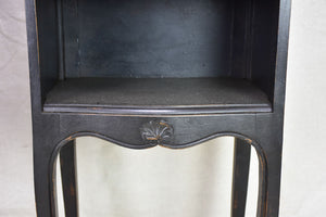 Pair of vintage Louis XV style French nightstands with black paint finish