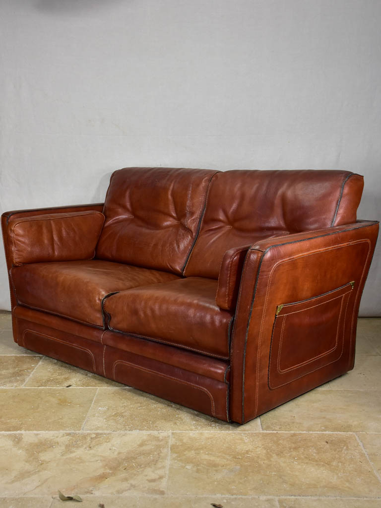 Roche Bobois brown leather two-seat sofa - 1970's / 80's 59""