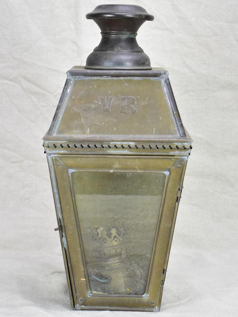19th Century French wall lantern with VR monogram 16½""