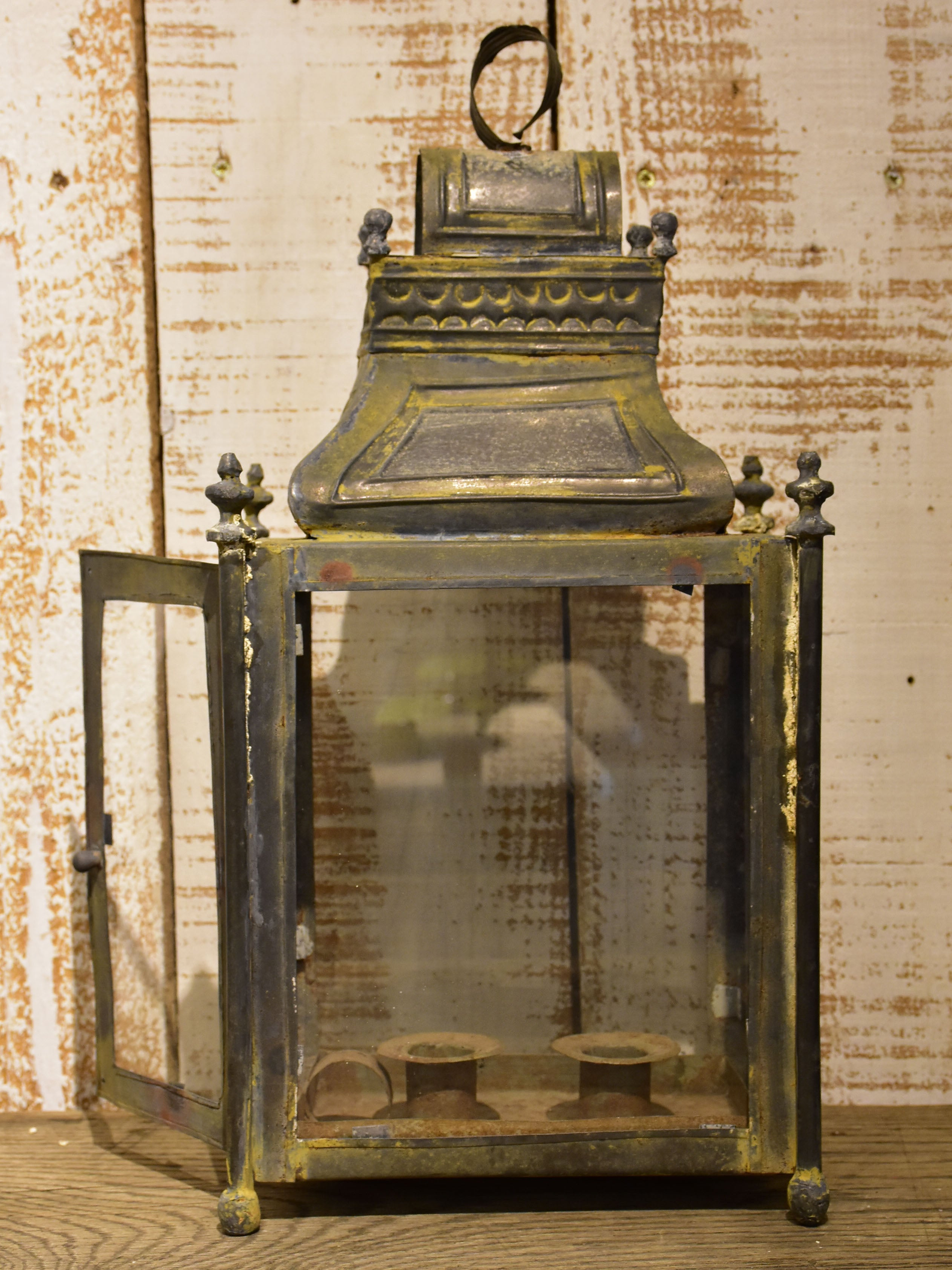 Antique French lantern – two candles