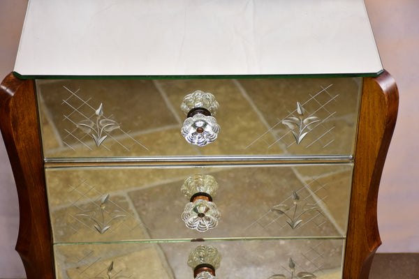 Small vintage mirrored commode