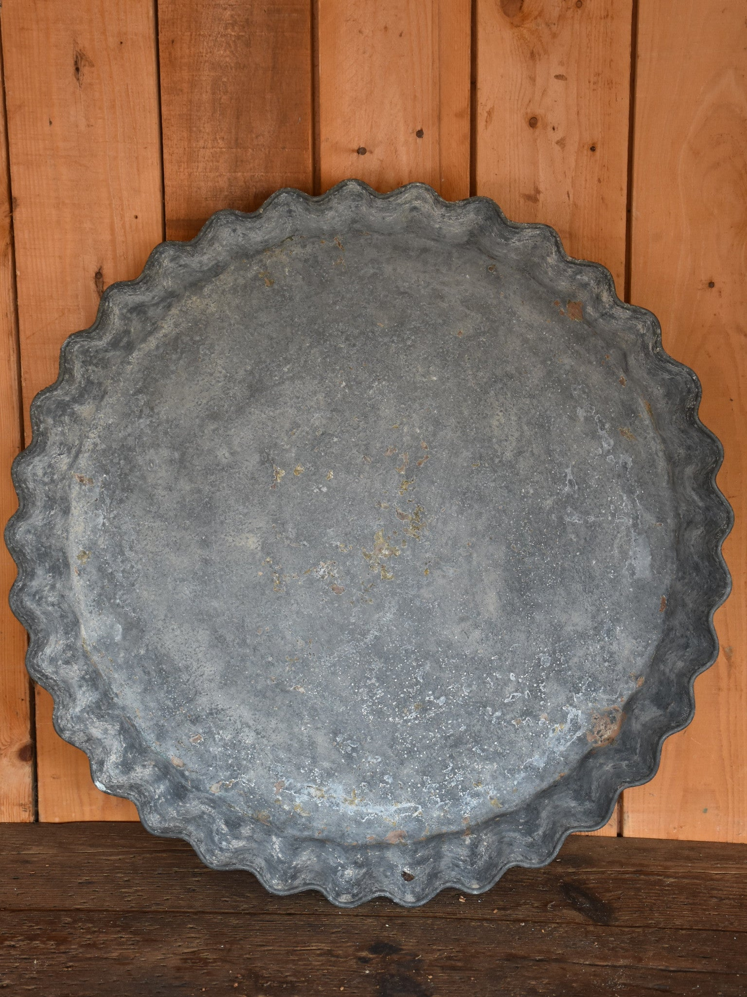Large French zinc dish with rippled edge