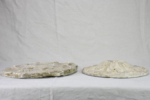 Two salvaged antique French plaster molds - round 18""
