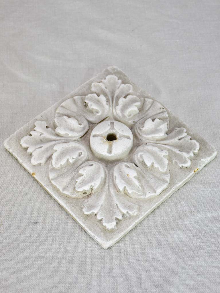 Salvaged antique French plaster mold - square 8""