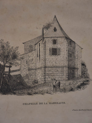 19th century French etching - Chapelle 9 ½'' x 12 ½''
