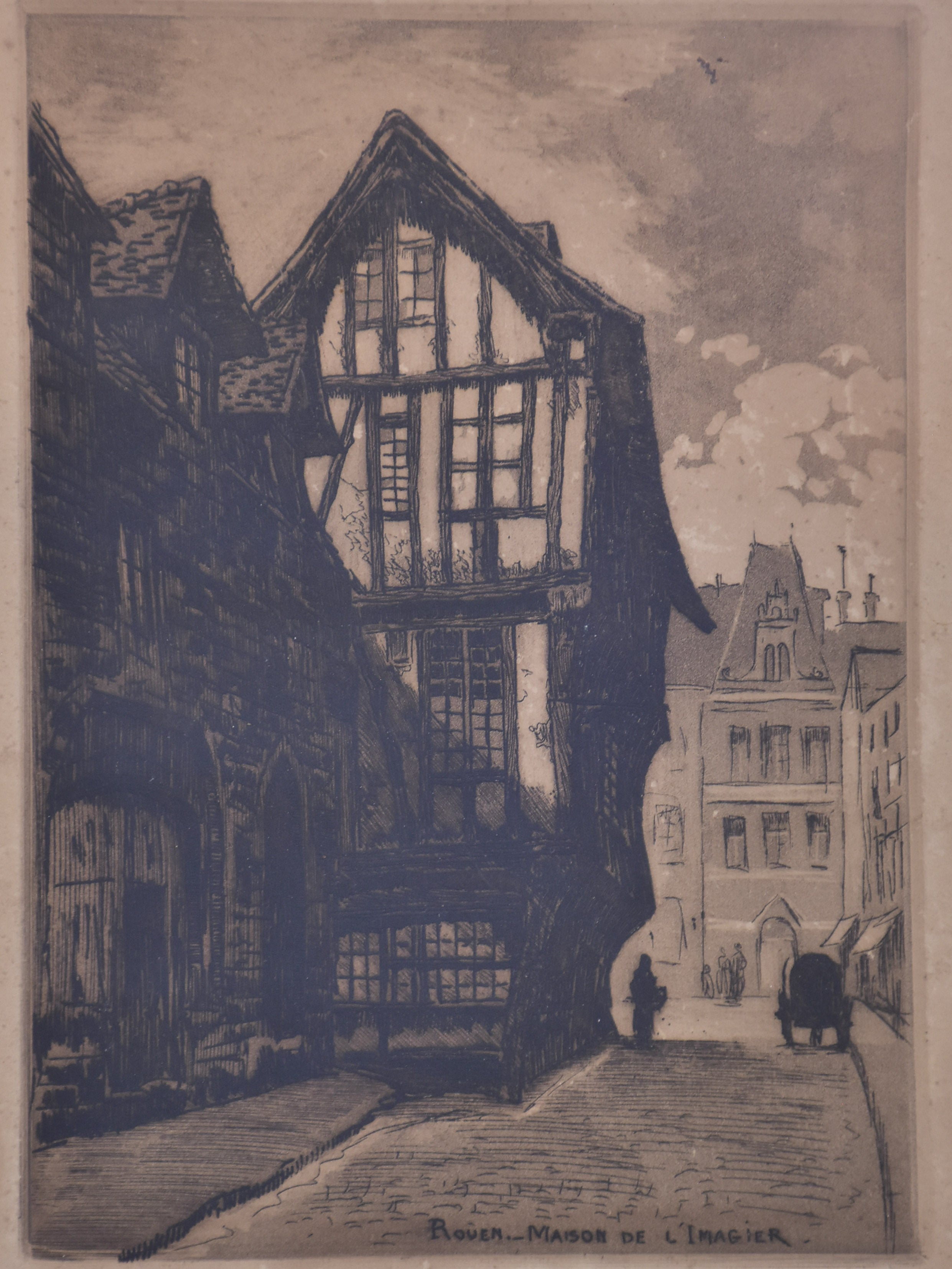 19th century French etching - Rouen 9 ½'' x 12 ¼''