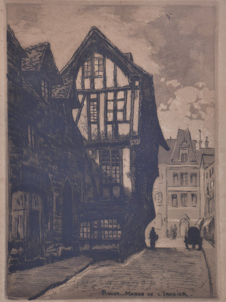 19th century French etching - Rouen