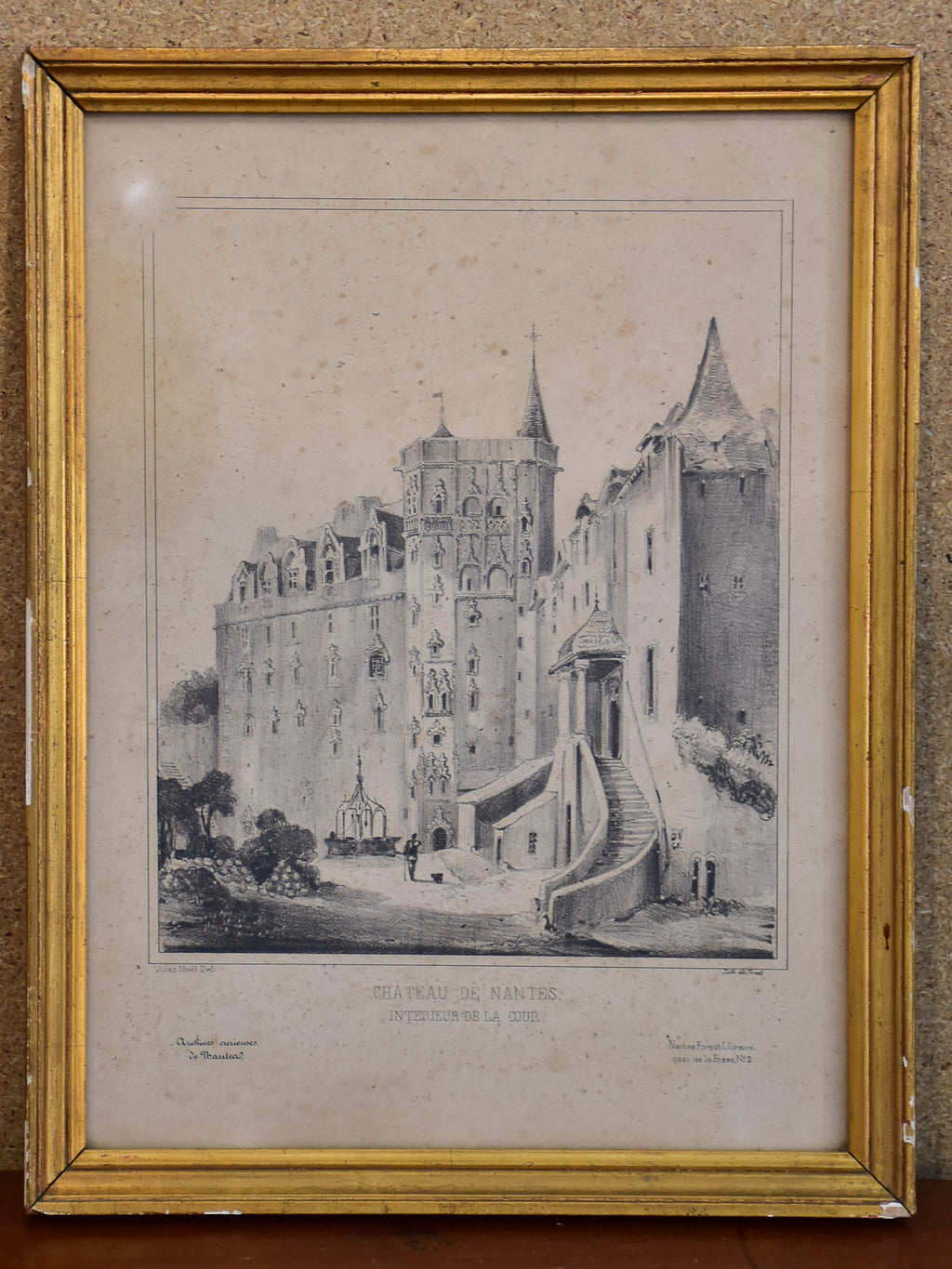 19th century French etching - Chateau Nantes