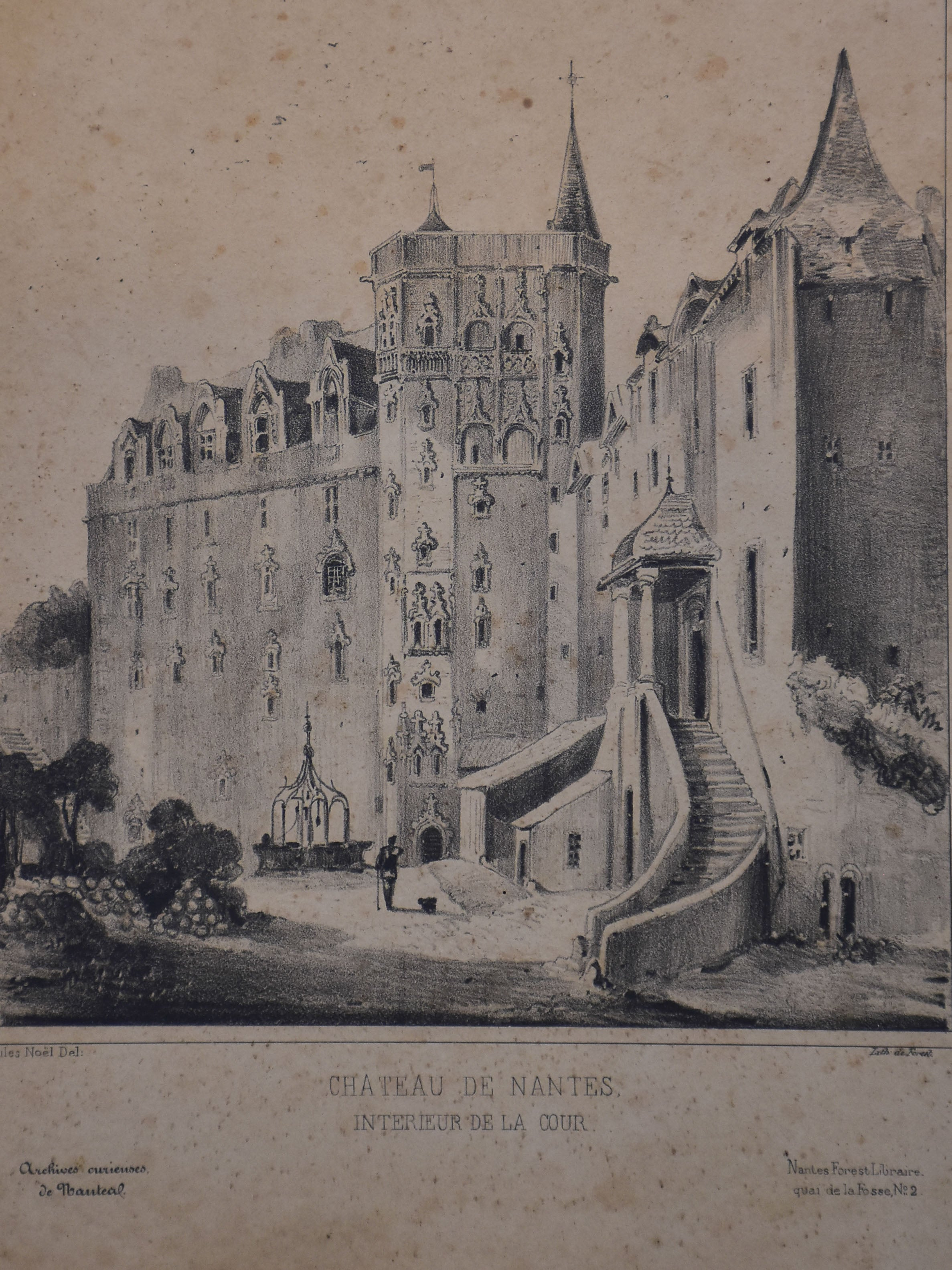 19th century French etching - Chateau Nantes 9 ¾'' x 12""