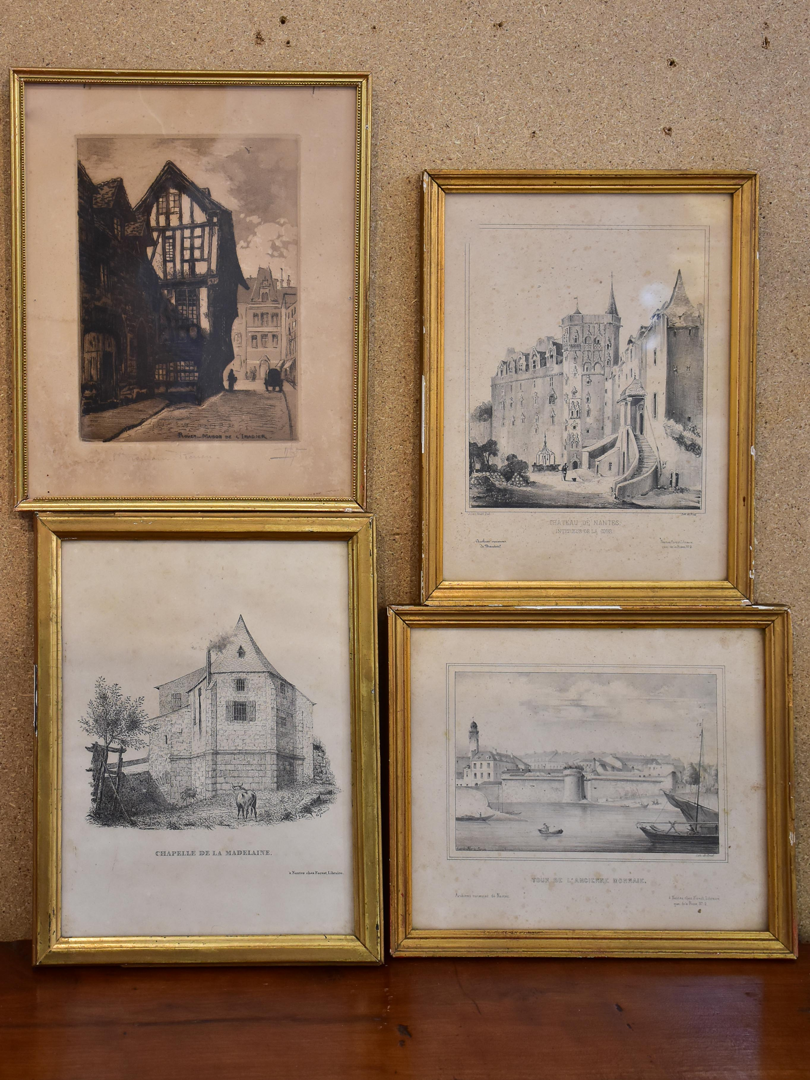 Collection of four antique French etchings