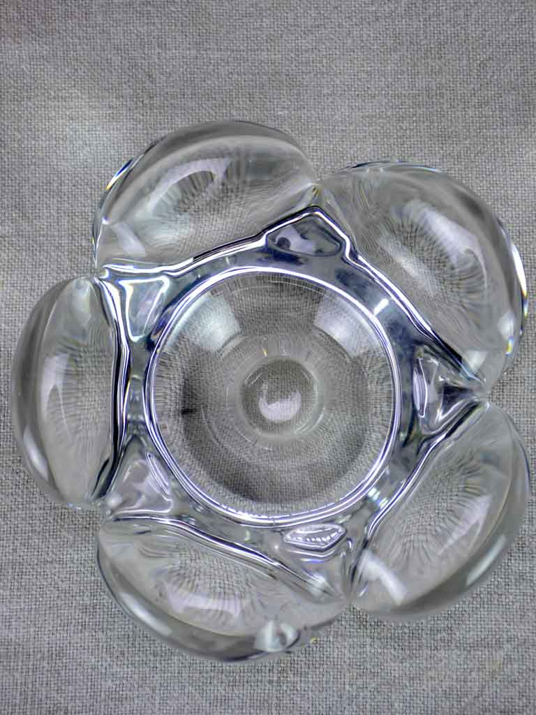 "Mid century French Daume glass ashtray 6"" flower"