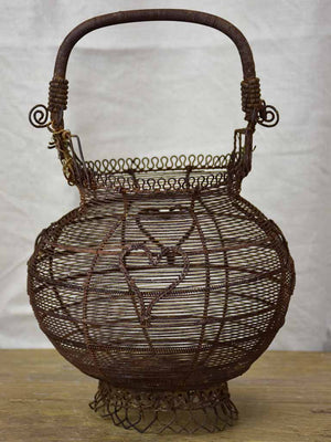 Antique French wire egg basket
