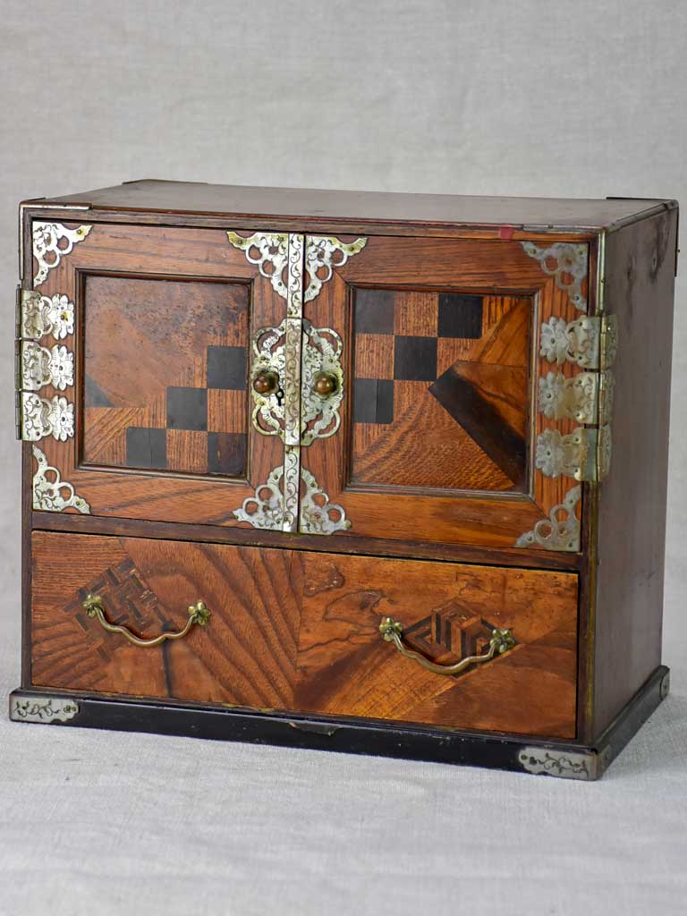 Antique French marquetry jewelry box with drawers