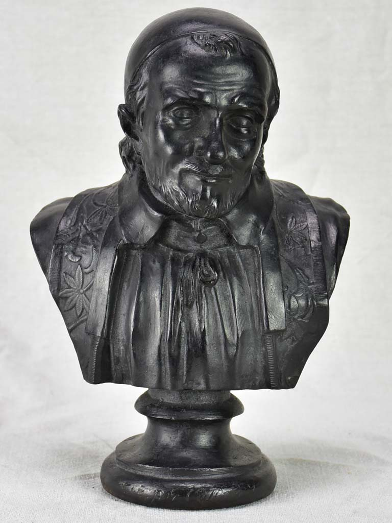 Antique French bust Saint Vincent de Paul - cast iron 12¼""