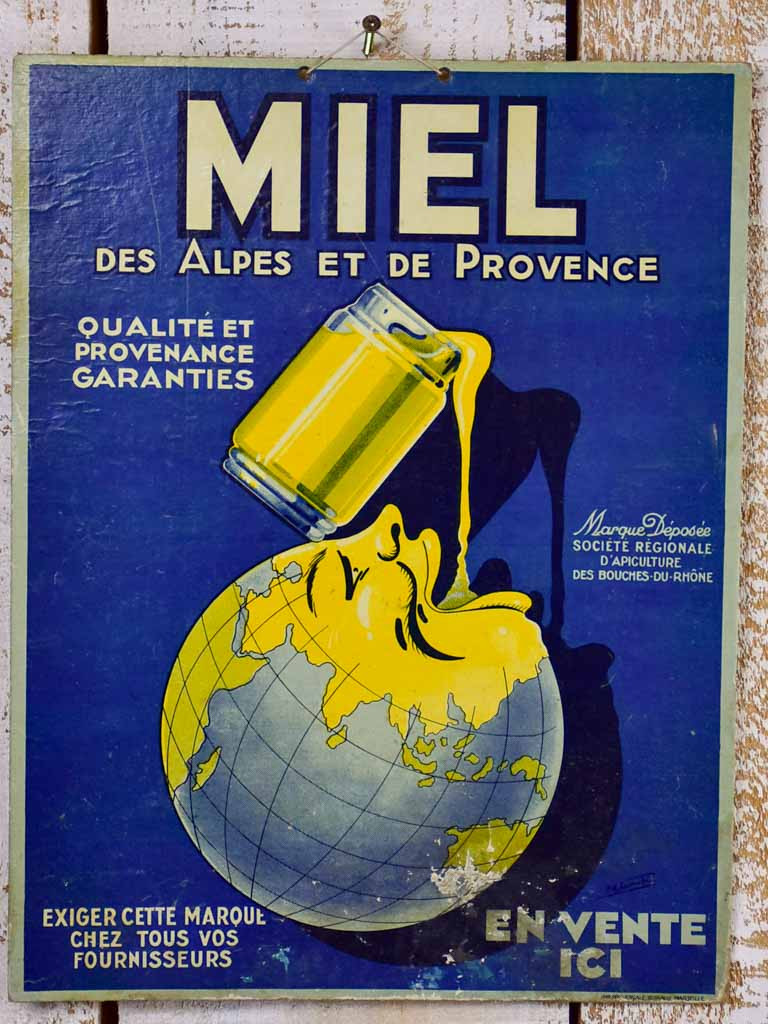 "Antique French advertising sign - honey miel 15¾"" x 12¼"""