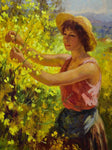 "Antique French painting of a lady picking yellow blooms 28¼"" x 33"""