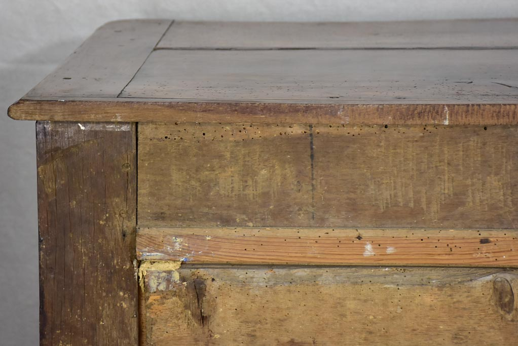 18th Century French oak and walnut commode - 4 drawers bronze hardware 46½""