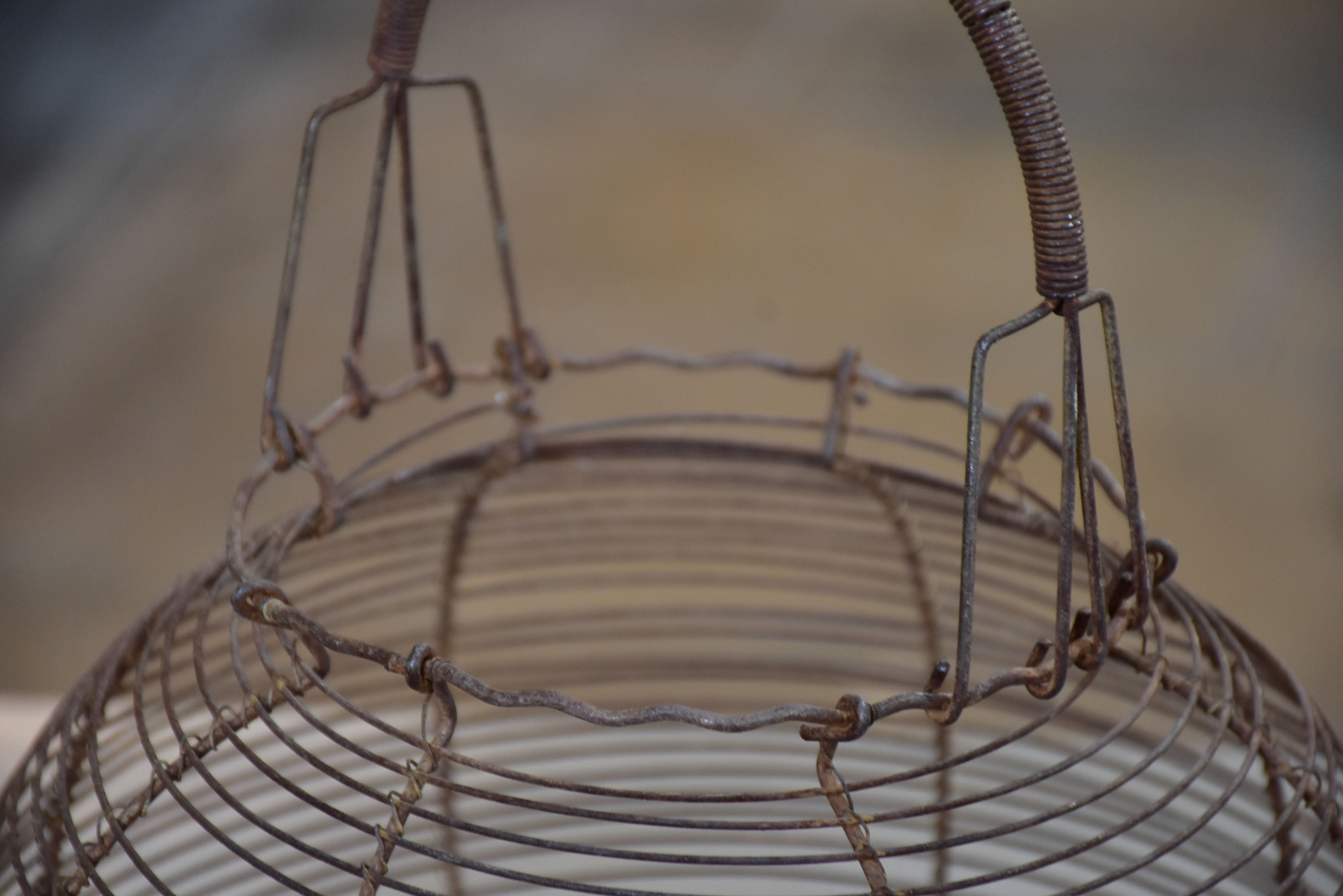 Two antique French wire baskets