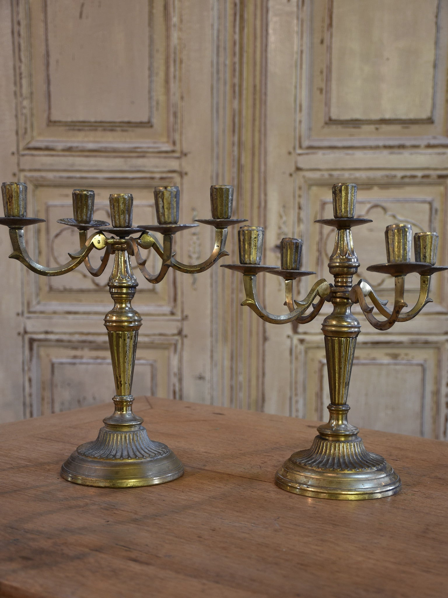 Two French vintage candlesticks – 5 branches