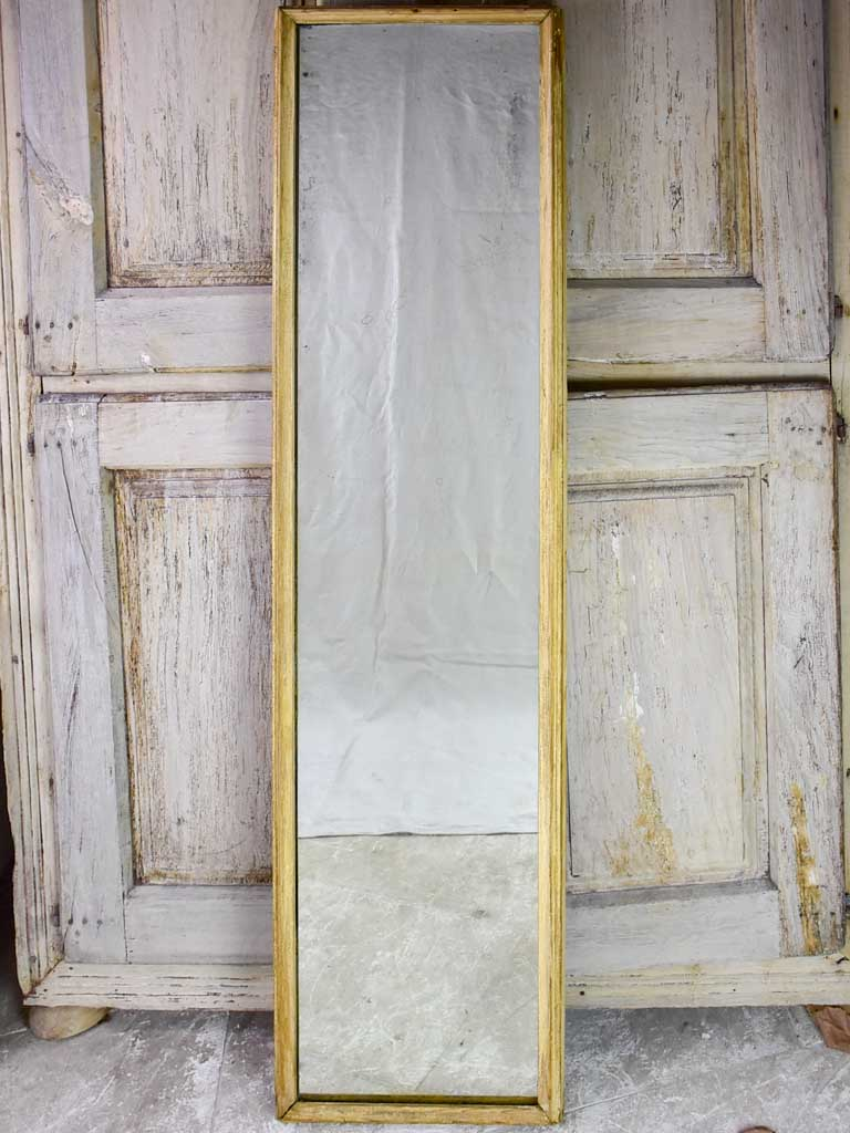 "Large early 20th century rectangular mirror with light wood frame and original glass 69¾"" x 17¼"""