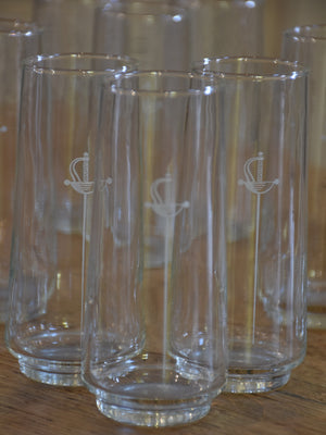 Set of 12 French Armagnac glasses with sword motif