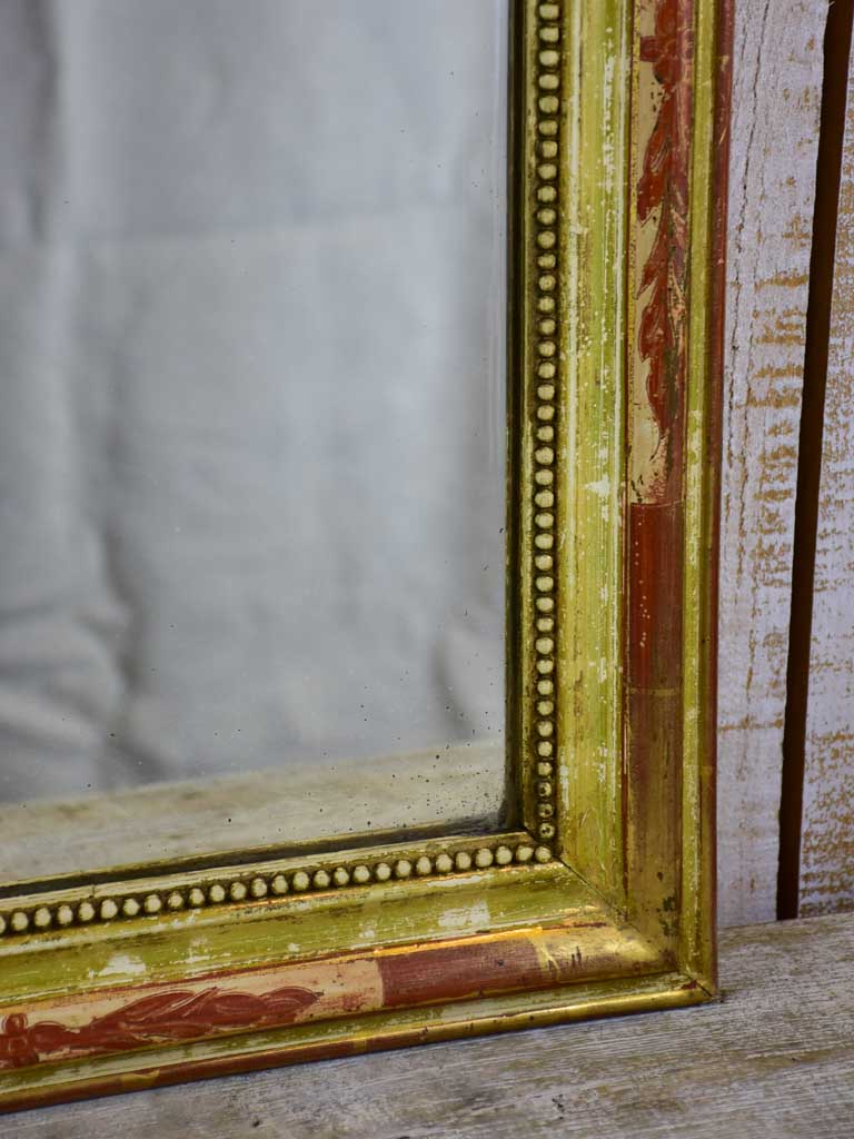 "Antique French Louis Philippe mirror with rustic frame 20¾"" x 25½"""
