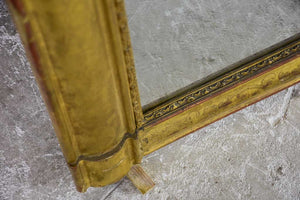 "Louis Philippe gilded mantle mirror with decorative pediment and original glass 33"" x 40¼"""