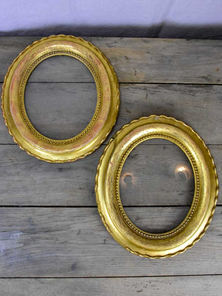 "Pair of oval gilded Frames - Napoleon III 15"" x 13½"""