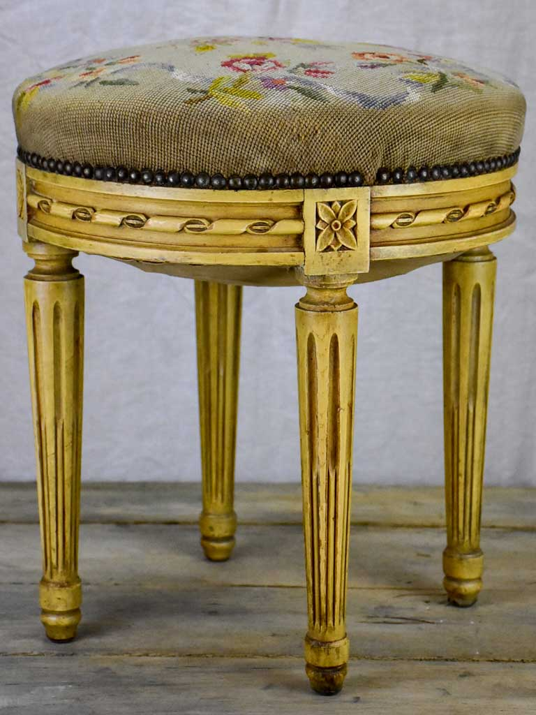 Louis XVI stool with cross stitch upholstery