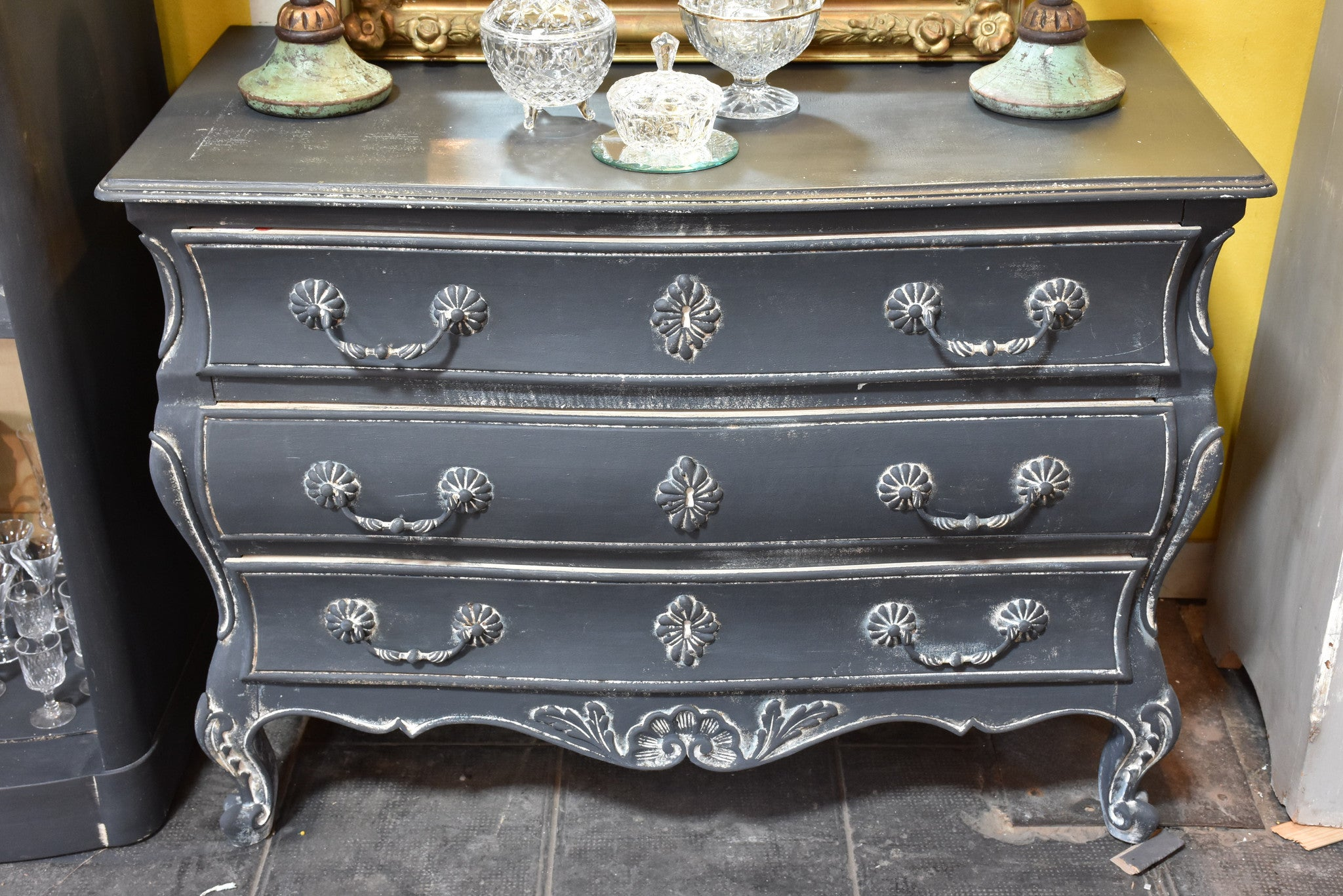 French Tombeau commode with blue patina