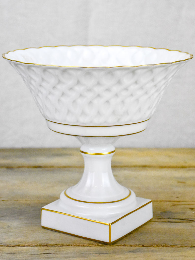 Early 20th Century Limoges fruit bowl on pedestal