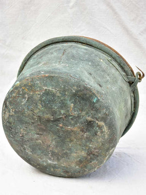 19th century French copper cauldron with blue green patina