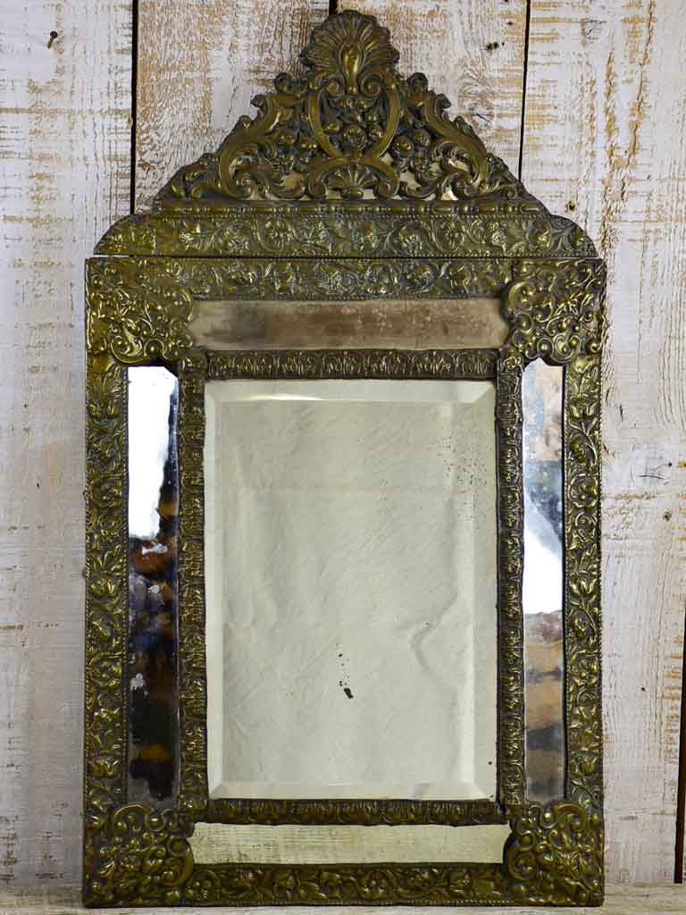 "Late 19th Century French mirror with copper frame and crest 20¾"" x 34¾"""