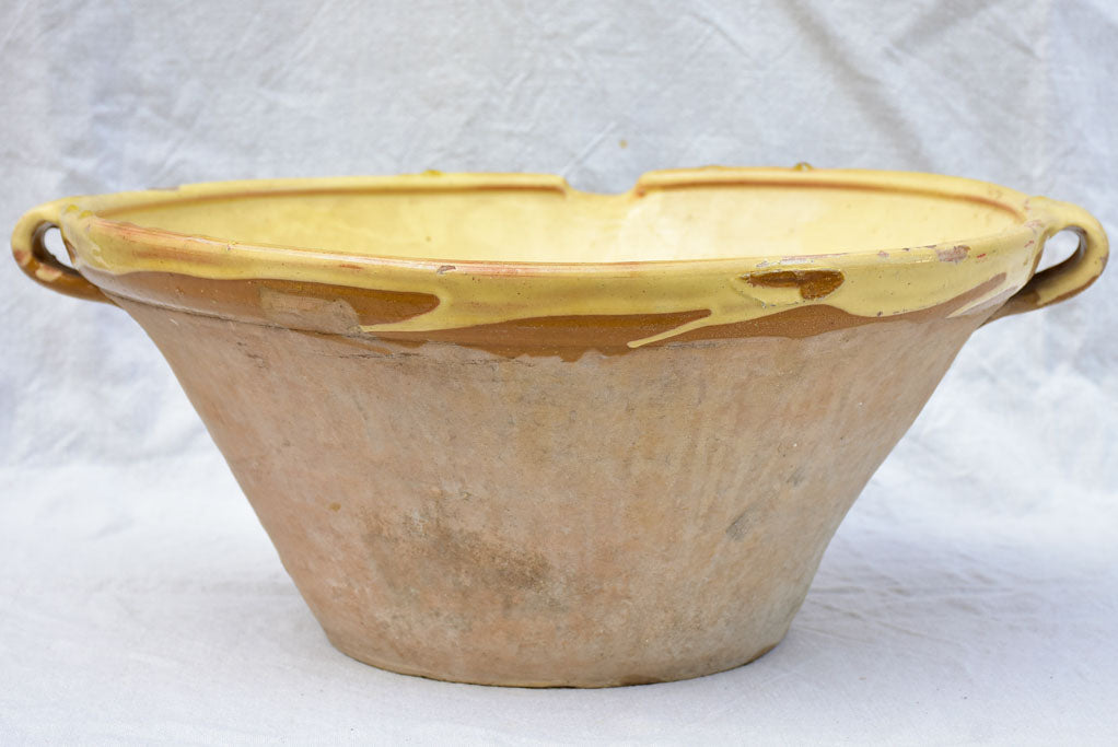 Antique French tian cooking bowl with yellow glaze 18""