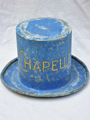 Rare 19th Century French hat - zinc sign from a hatter's shop 10¾""