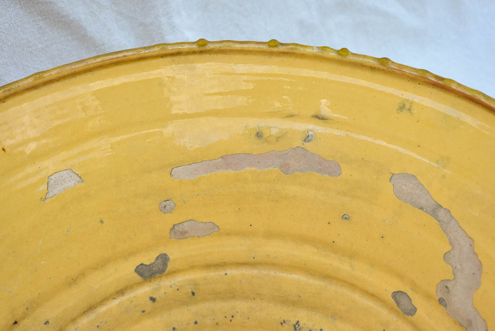 Large antique French tian cooking bowl with yellow glaze 21¾""