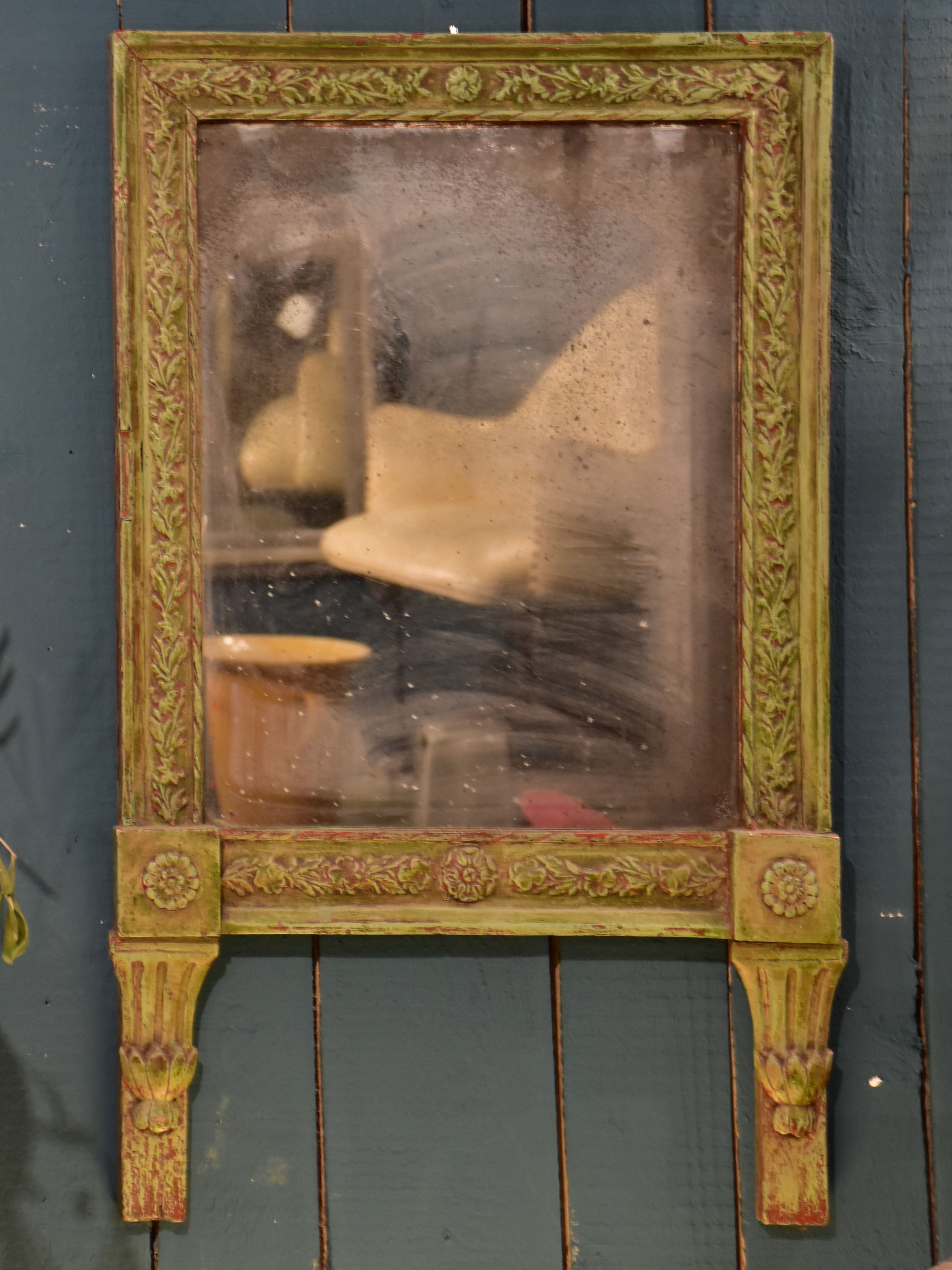 Original Louis XVI mirror with rustic green and red frame
