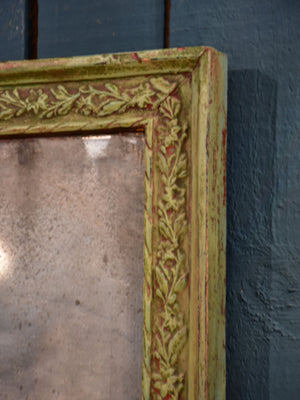 "Original Louis XVI mirror with rustic green and red frame 20"" x 31½"""