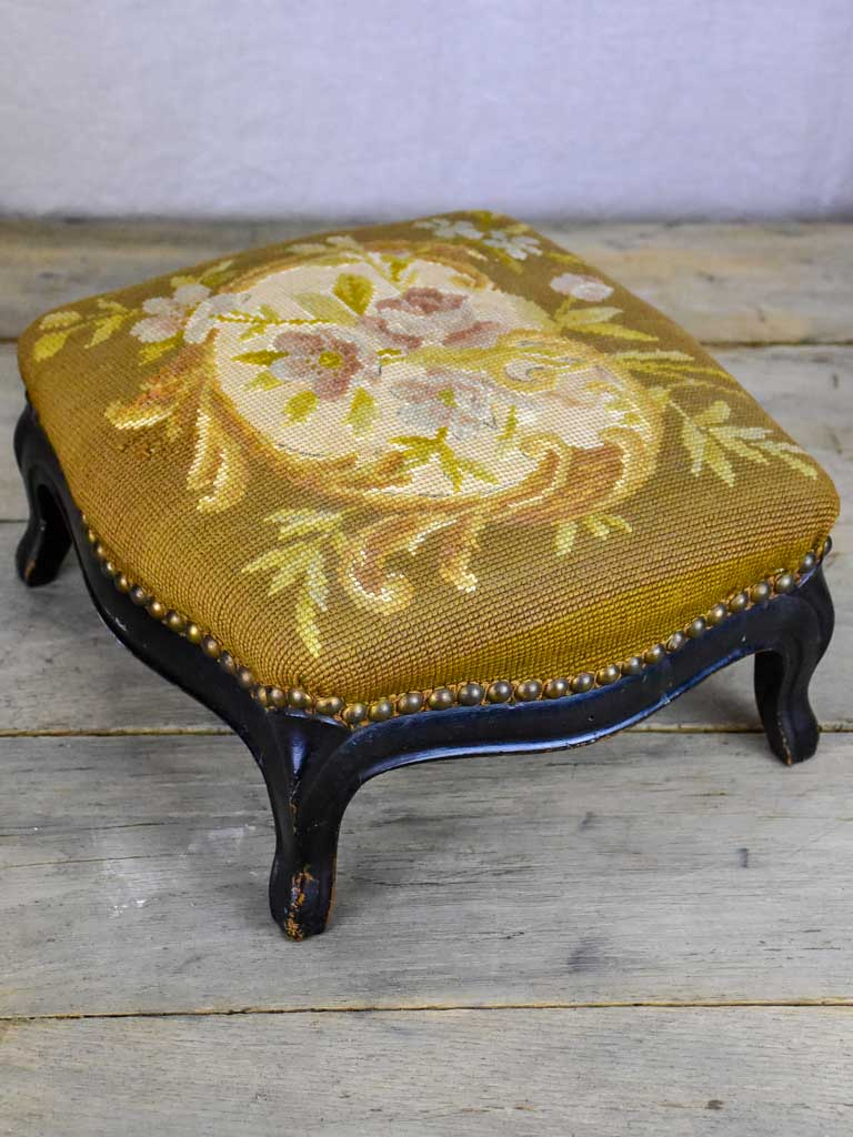 Small Napoleon III footstool with cross stitch upholstery