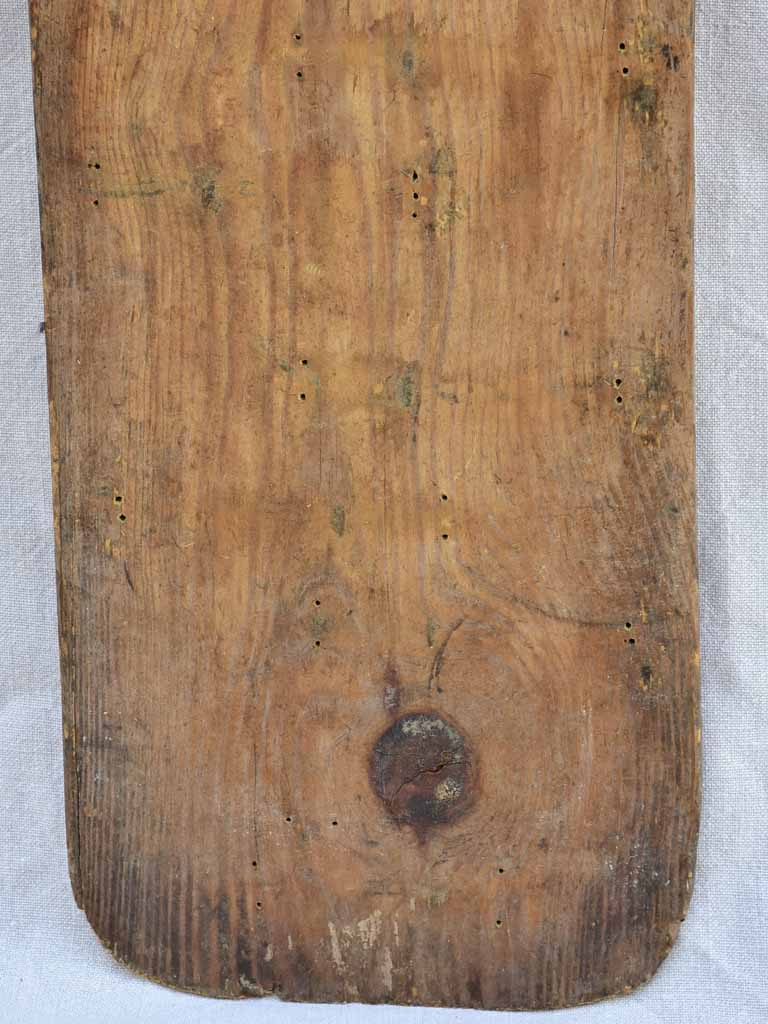 Long antique French baker's bread board monogrammed PH 38¼""