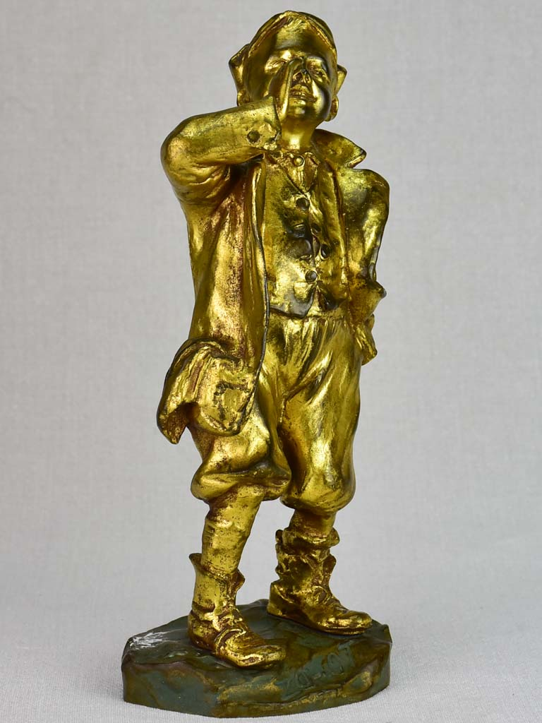 Louis Oury Art Deco bronze sculpture of a young boy 12¼""