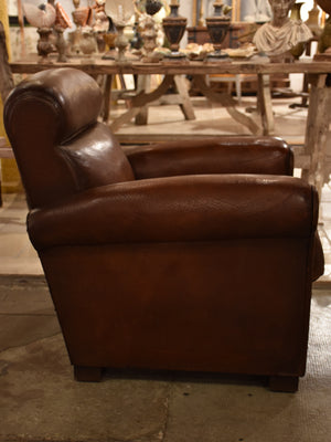 Vintage French leather club chair – 1960's