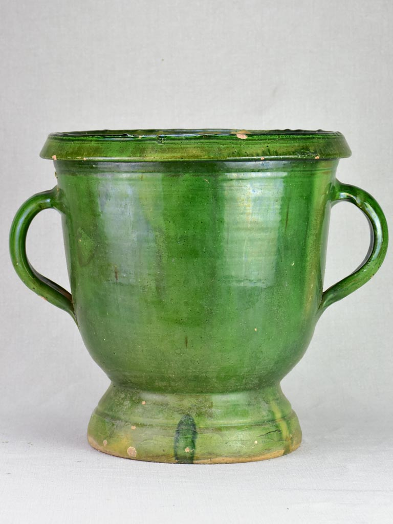 Early twentieth century French planter with green glaze - Castelnaudary 15¼""