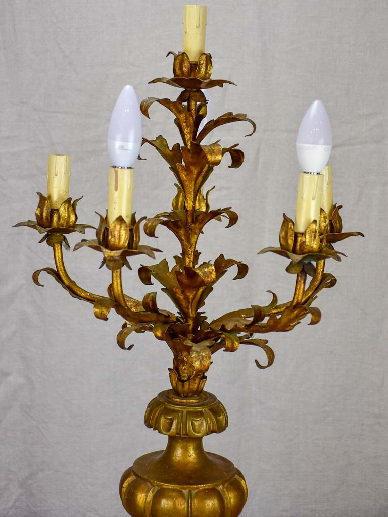 Early 20th Century French candelabra table lamp with six lights 29¼""